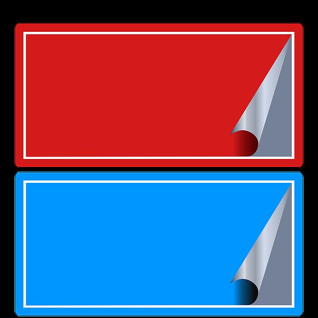 červená a modrá samolepka